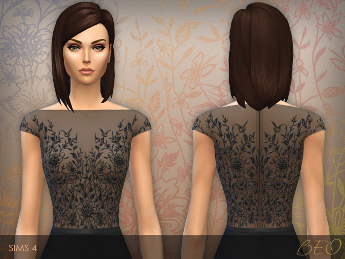 Dress with Embroidered Transparent Top for The Sims 4 by BEO