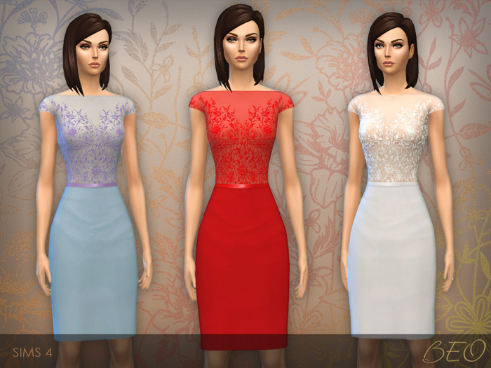 Dress with Embroidered Transparent Top for The Sims 4 by BEO (2)