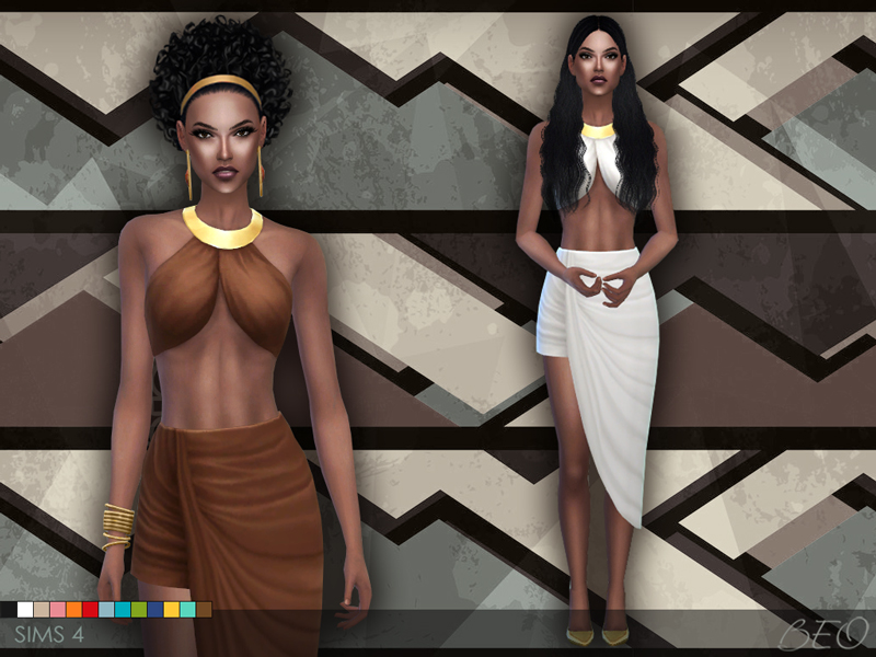 Draped skirt and top for The Sims 4 (1)