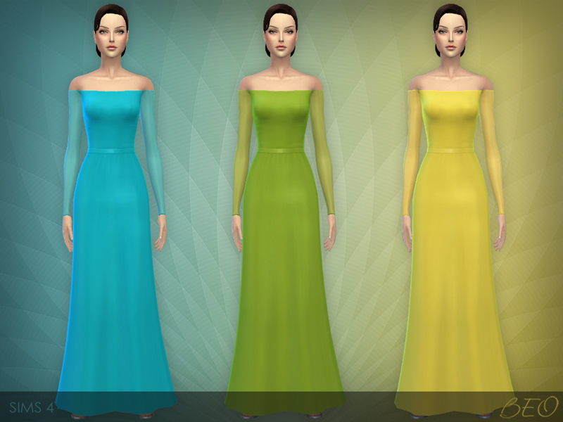 Transparent sleeves dress for The Sims 4 (3)