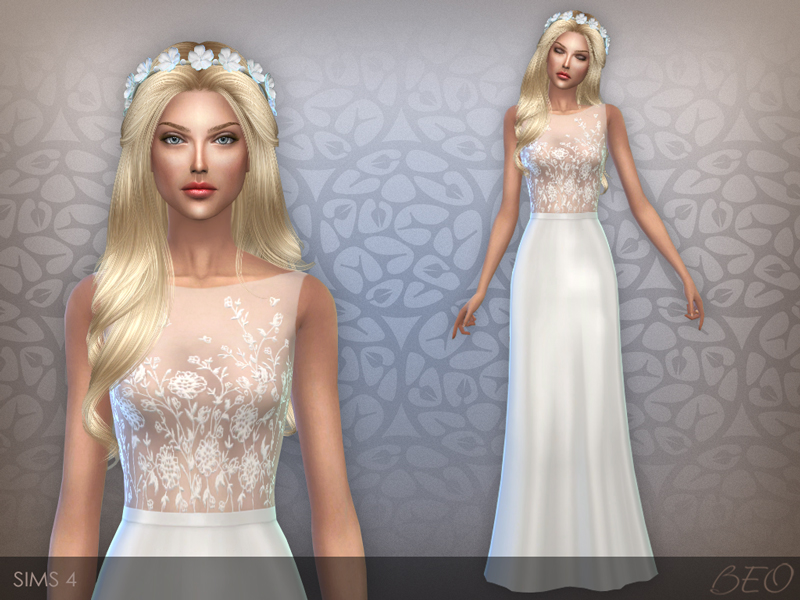 Embroidered transparent top dress 02 for The Sims 4 by BEO