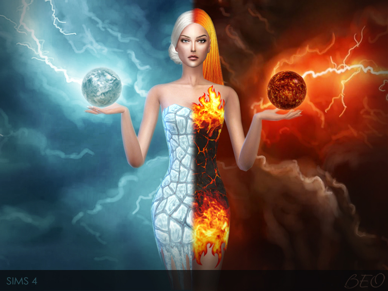 Flame and Ice dresses for The Sims 4 by BEO