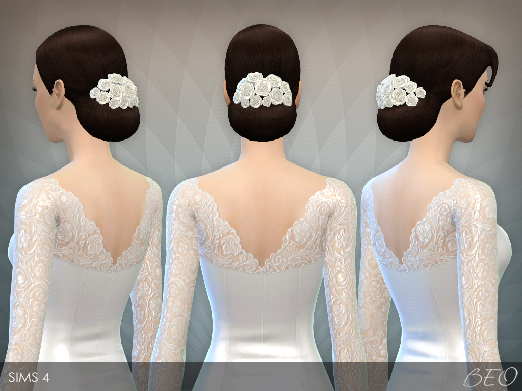 Flowers for Elegant Bun hair for The Sims 4 by BEO