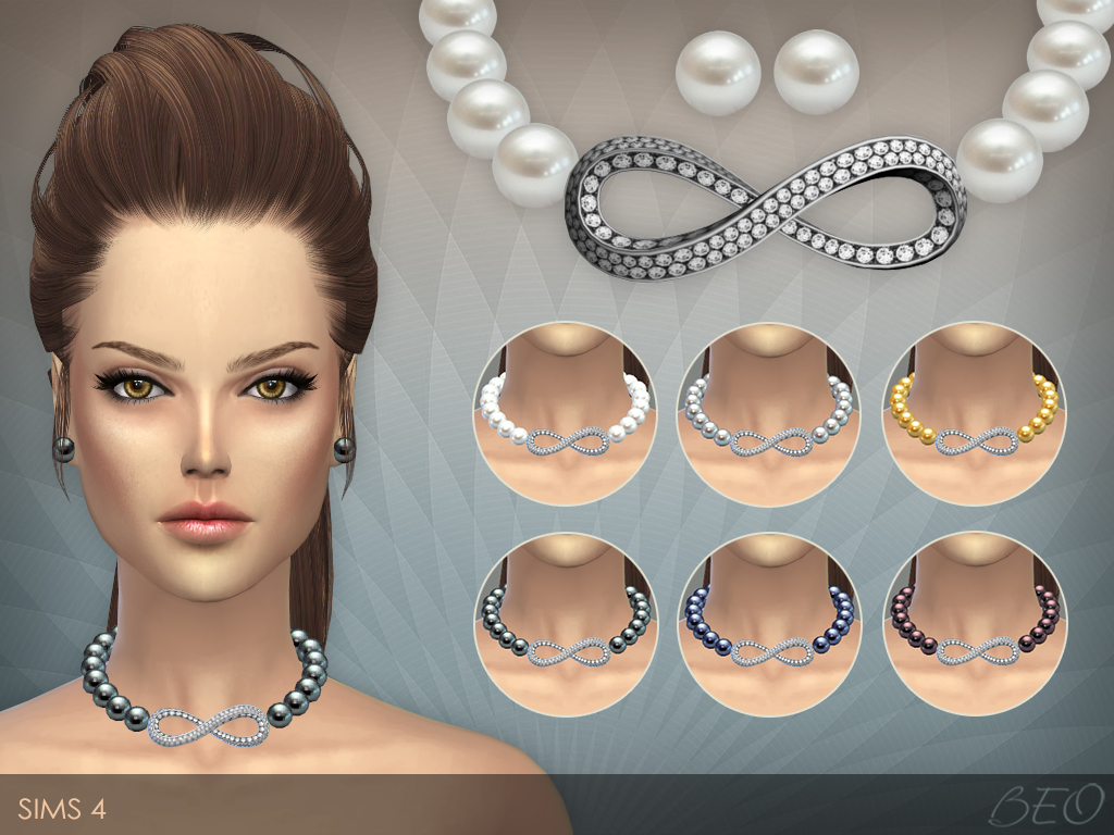 Infinity necklace & stud earrings The Sims 4 by BEO