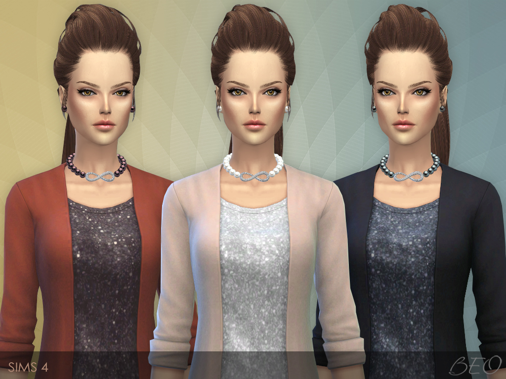 Infinity pearls necklace & stud earrings for The Sims 4 by BEO (1)