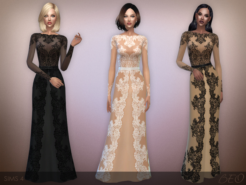 Lace long dress for The Sims 4 (2)