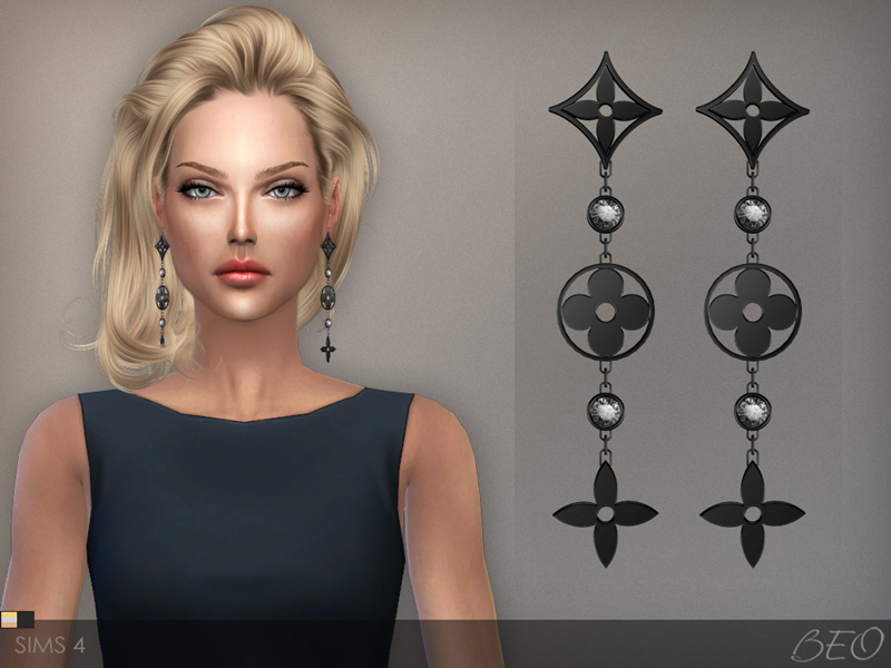 LV monogram idylle earrings The Sims 4 by BEO