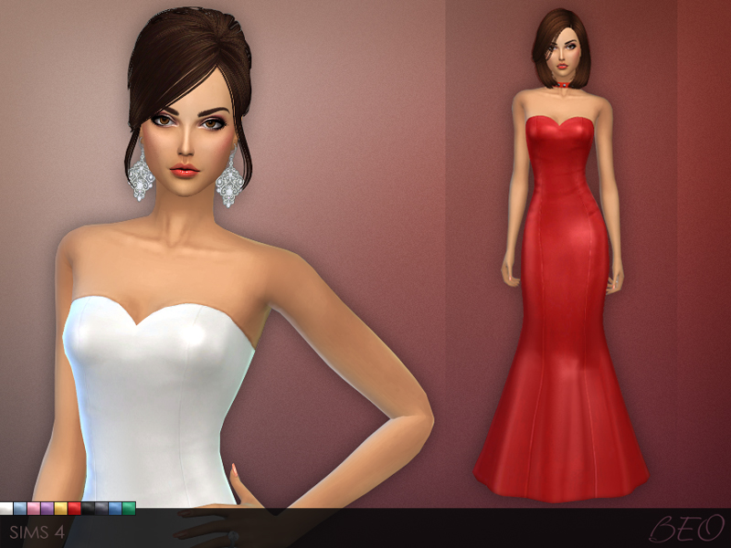 Simple Mermaid Silhoutte Dress for The Sims 4 by BEO
