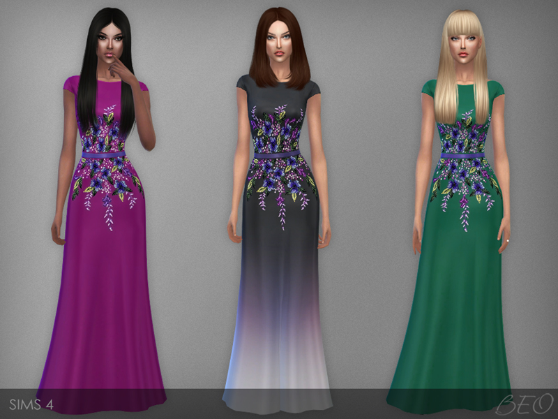 Multicolored embroidered dress for Sims 4 by BEO