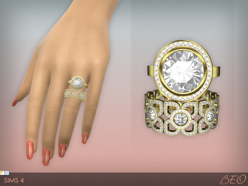 Diamond rings set for The Sims 4 by BEO
