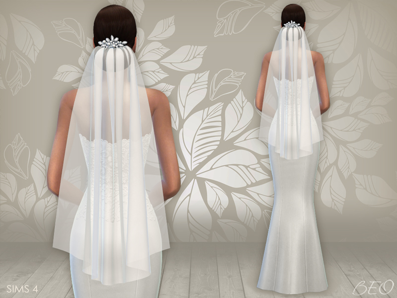 Wedding dress 02 and veil for The Sims 4 by BEO (2)