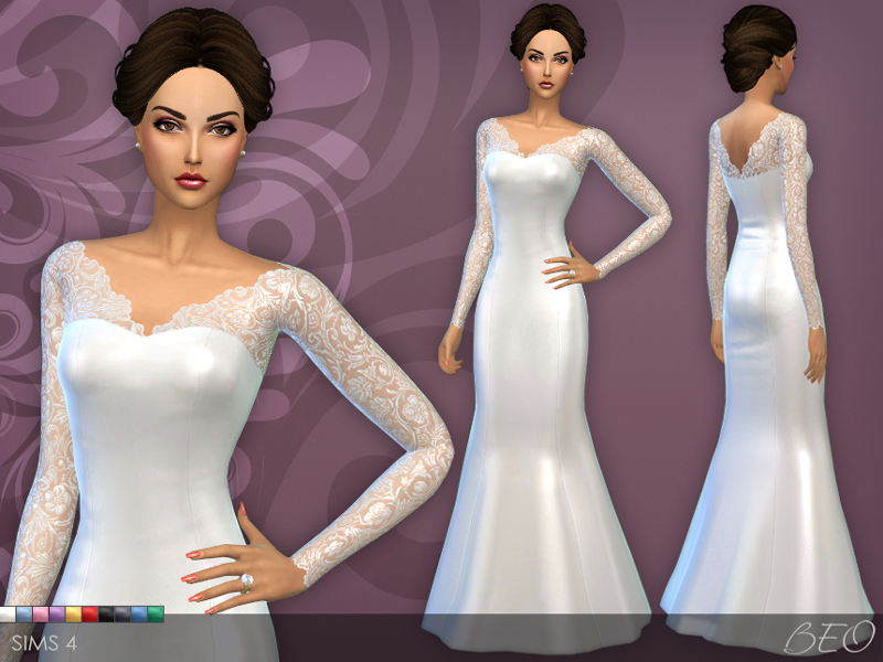Wedding dress 25 V3 for The Sims 4 by BEO