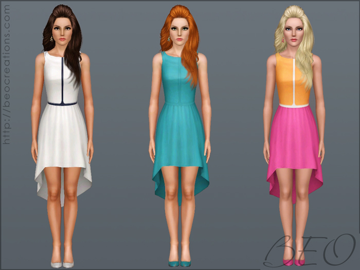 Asymmetric color dress for The Sims 3 by BEO (2)