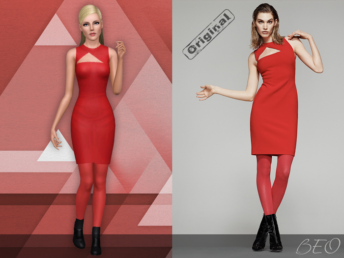 Asymmetric cut out dress for The Sims 3 by BEO