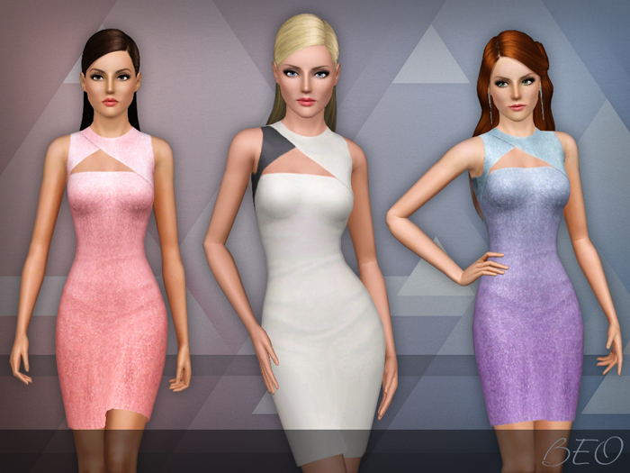 Asymmetric cut out dress for The Sims 3 by BEO (2)