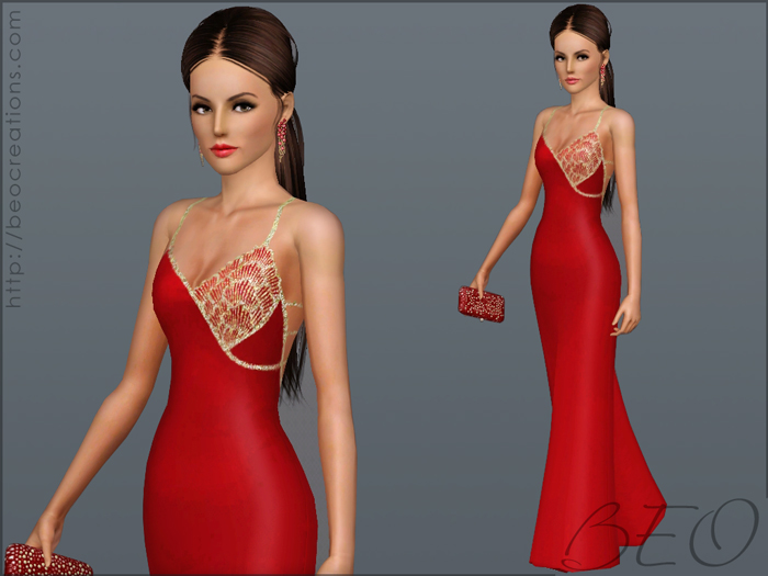 Asymmetric decorated dress for Sims 3 by BEO