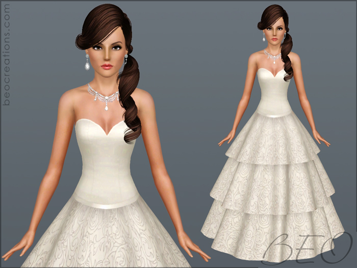 Wedding dress 21 for Sims 3 by BEO