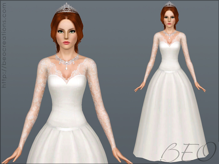 Wedding dress 25 V.2 for Sims 3 by BEO