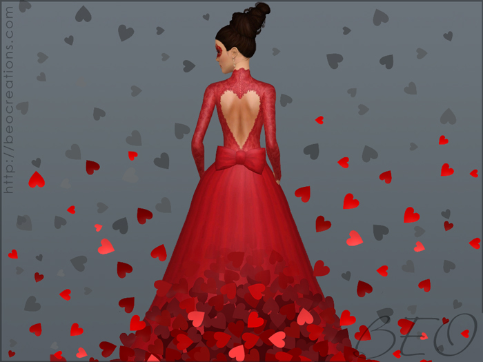valentine's Wedding dress for Sims 3 by BEO
