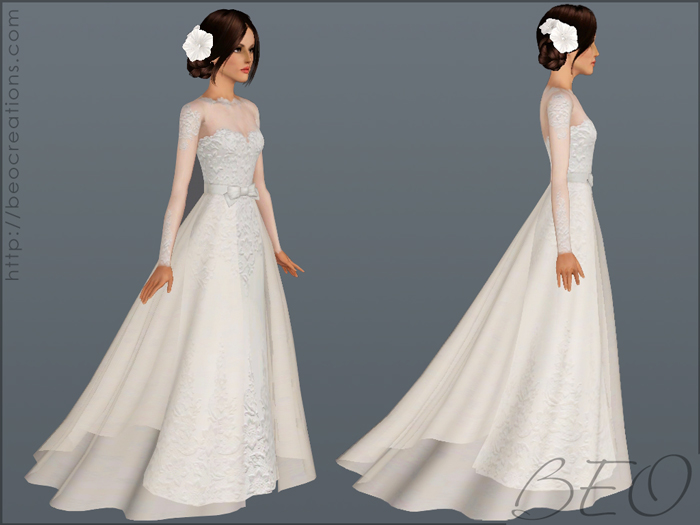 Wedding dress 28 for Sims 3 by BEO (2)