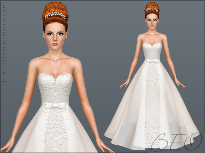 Wedding dress 28 v2 for Sims 3 by BEO