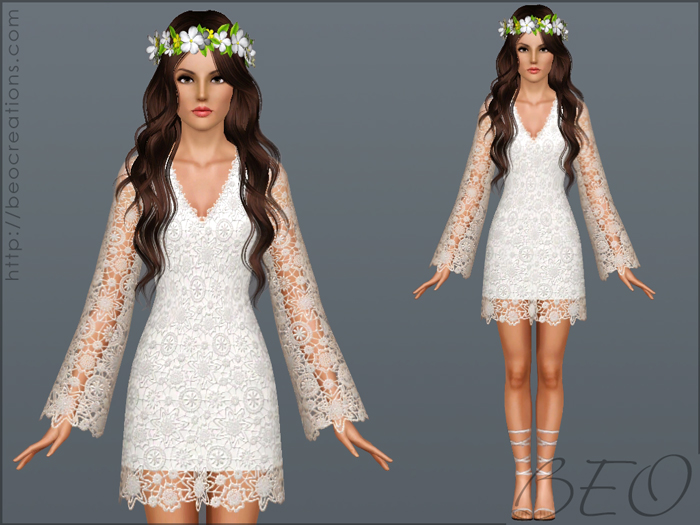 Bohemian wedding dress for Sims 3 by BEO