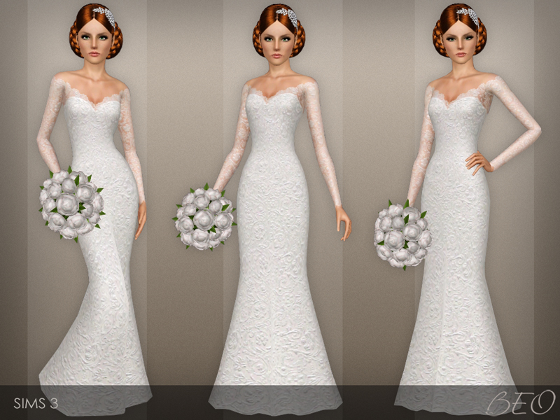 Wedding dress 40 for Sims 3 by BEO (1)
