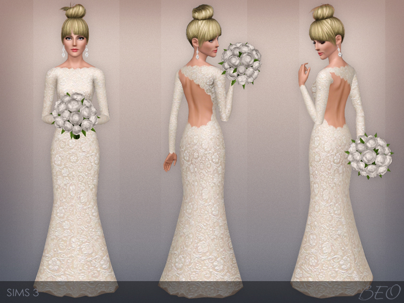 Wedding dress 43 for The Sims 3