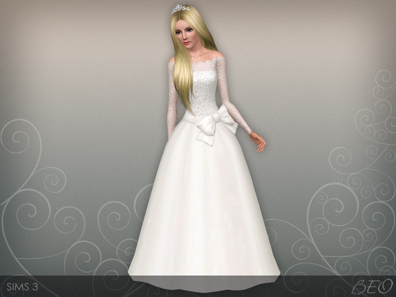 Wedding dress 45 V2 for Sims 3 by BEO