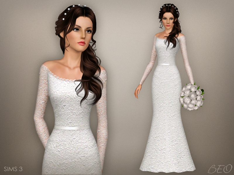 Wedding dress 47 for The Sims 3