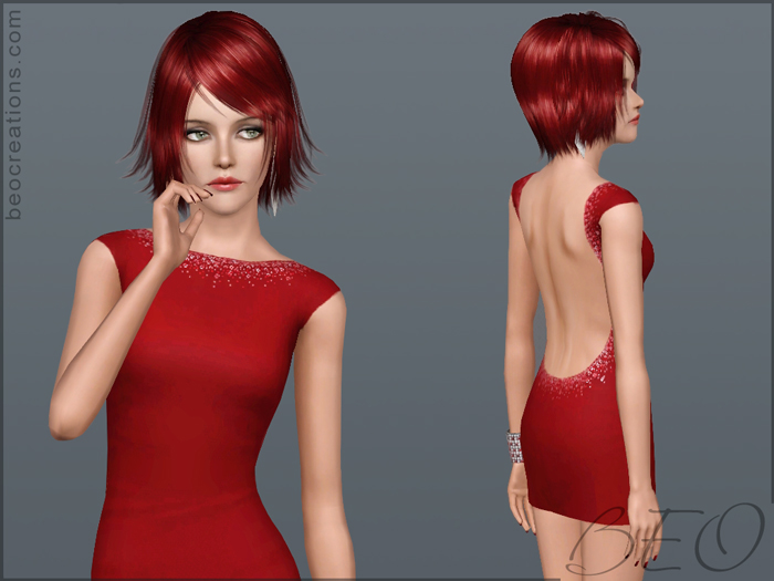 Mini dress with crystals for Sims 3 by BEO