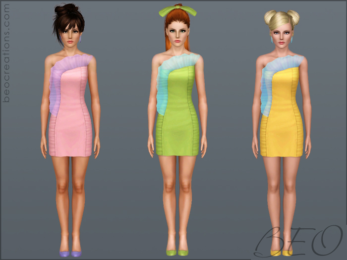 Dress with transparent frill for Sims 3 by BEO