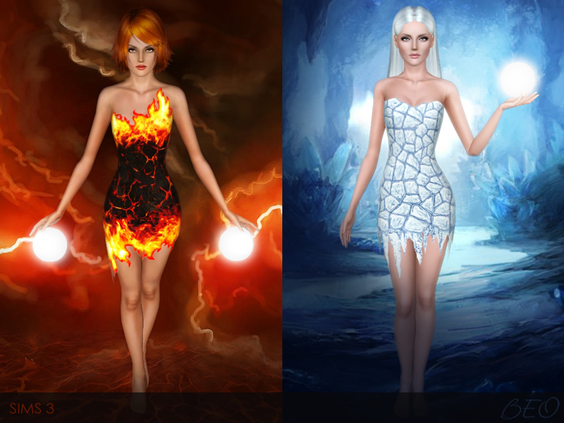 Flame and Ice dress for The Sims 3 by BEO