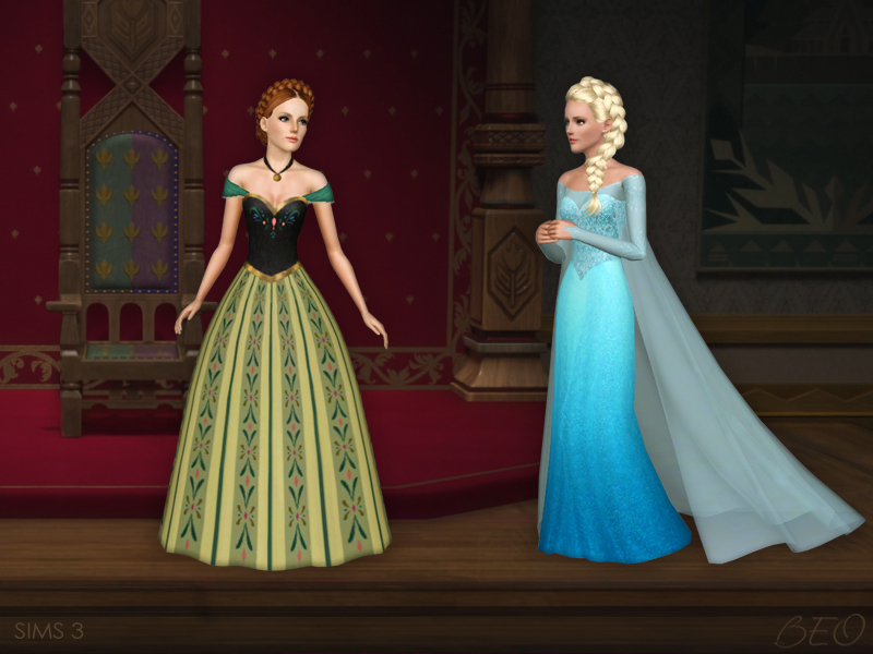 Frozen - Anna's coronation dress for Sims 3 by BEO (2)