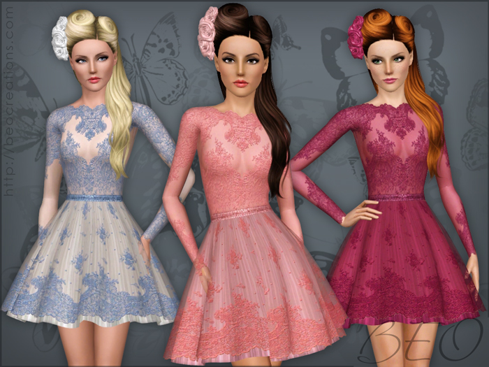 Lace short dress for The Sims 3 by BEO