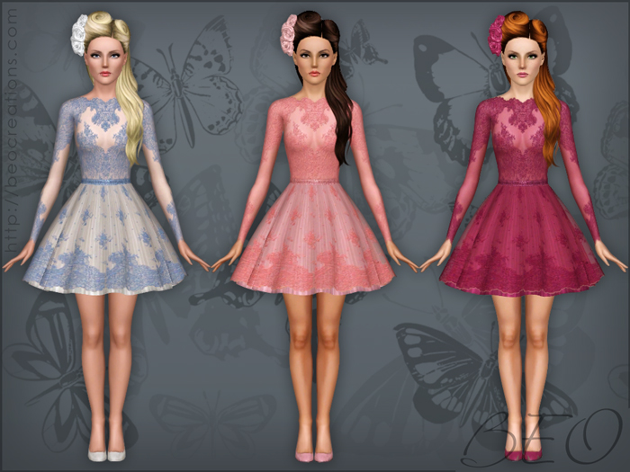 Lace short dress for Sims 3 by BEO (2)