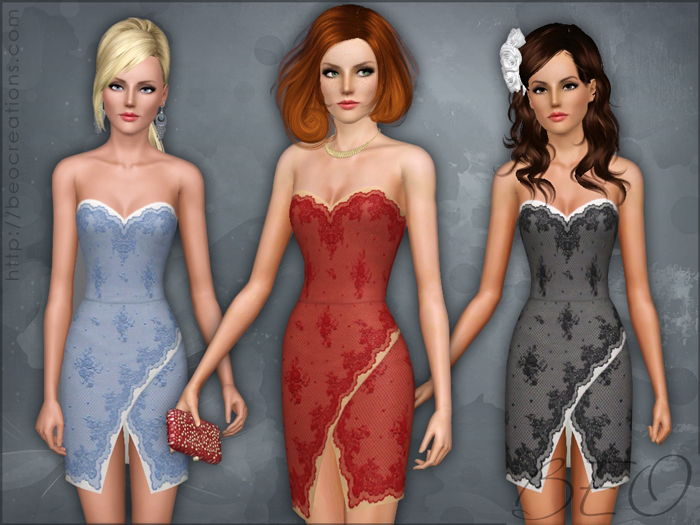 Lace short dress 02 for The Sims 3 by BEO