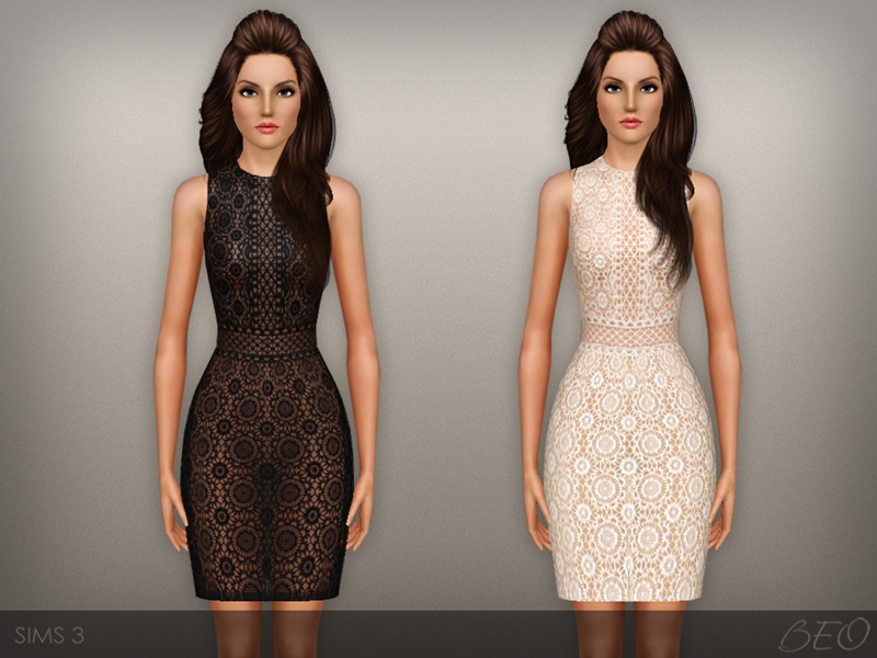 Lace Transparent Dress for The Sims 3 by BEO