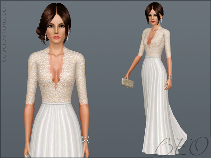 long formal dress for Sims 3 by BEO