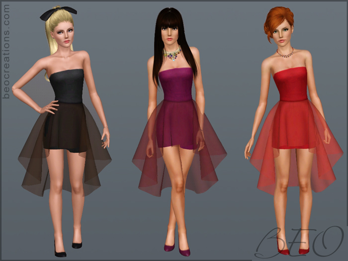 Mini dress with sheer skirt for Sims 3 by BEO