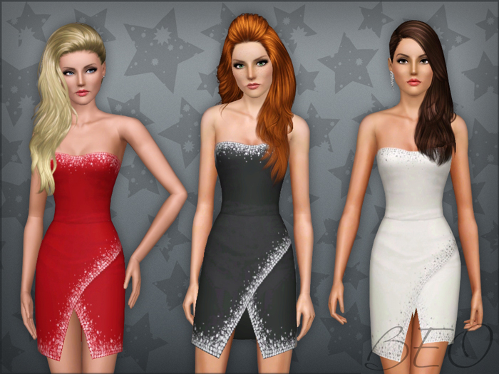 Mini dress with crystals 02 for The Sims 3 by BEO