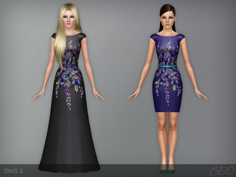 Multicolored embroidered dresses for The Sims 3