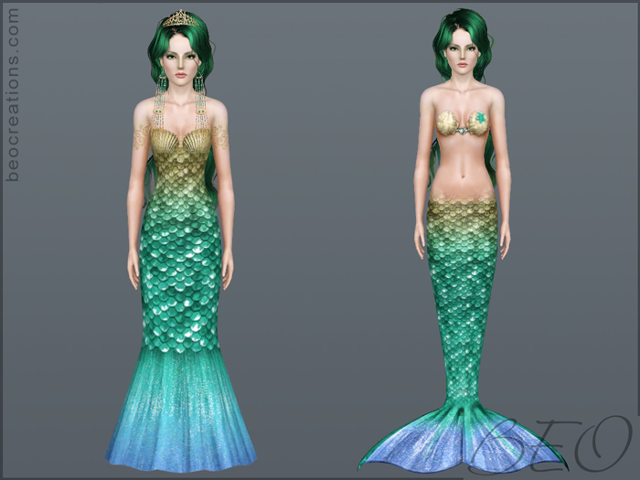 Sea princess dress for Sims 3 by BEO