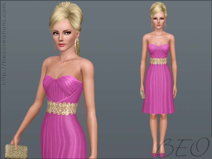 short formal dress 02 for Sims 3 by BEO