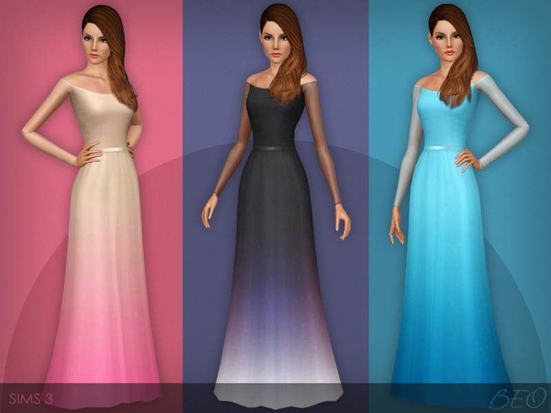Transparent sleeves dress (031) for Sims 3 by BEO