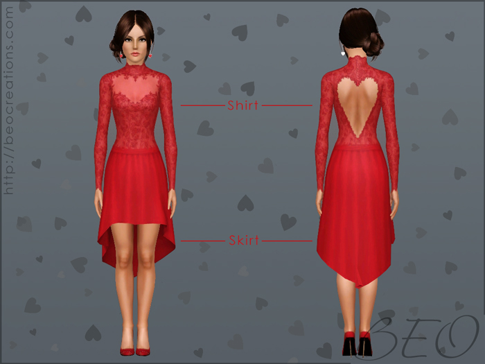 Valentine's shirt and skirt for The Sims 3 by BEO