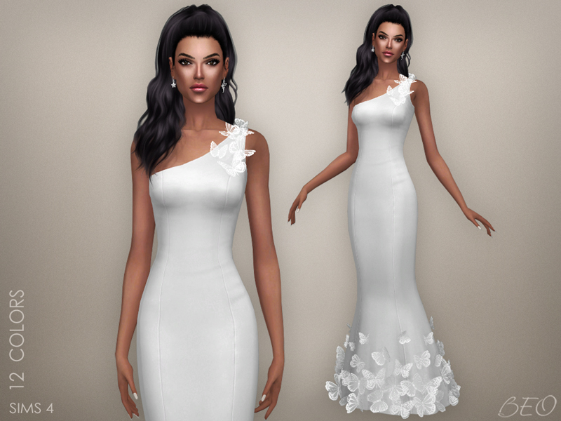 Butterflies - wedding dress for The Sims 4 by BEO
