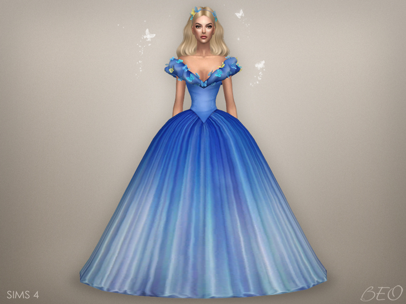 Cinderella (2015) - butterflies dress for The Sims 4 by BEO (2)