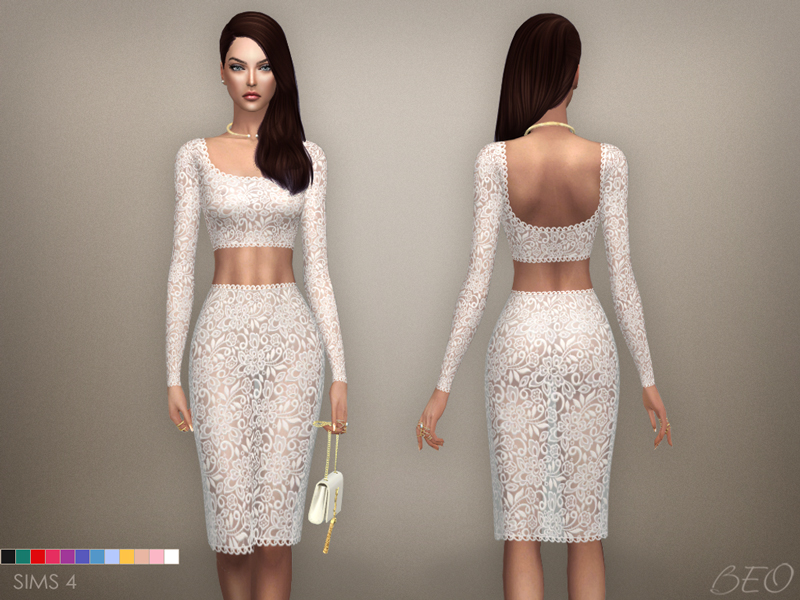 Lace midi dress 03 for The Sims 4 by BEO