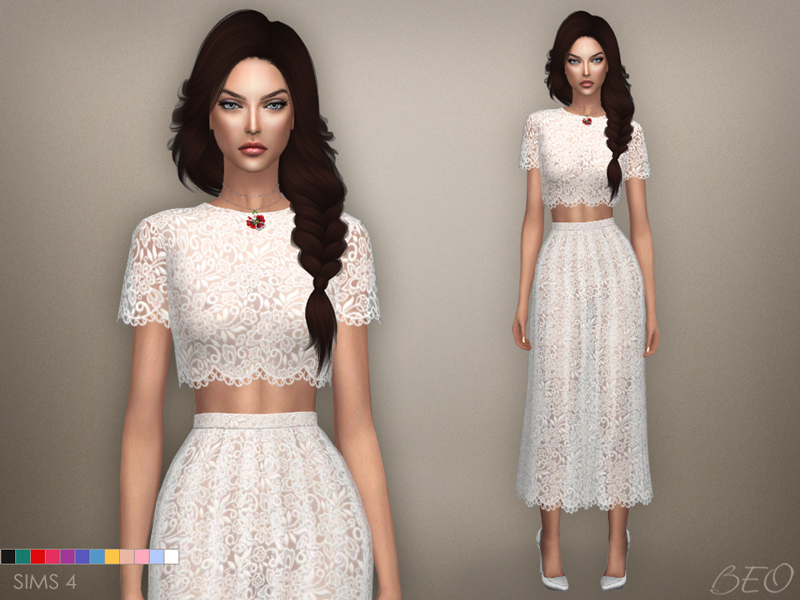 Lace midi dress 04 for The Sims 4 by BEO